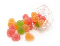Colour Fruit Candy In A Crystal Vase Royalty Free Stock Photography