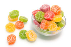 Colour fruit jellies. Isolated on white background Stock Images