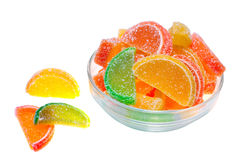 Colour fruit jellies. Isolated on white background Stock Image