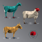 Colour full geometric illustration of medium farm animals Royalty Free Stock Image