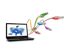 Colour Full Network Cables With Lap.  Royalty Free Stock Photography