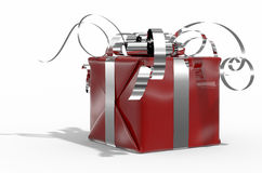 Colour gift box(red) on white background. Photorealistic 3d rendered present for celebration royalty free illustration
