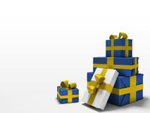 Colour gift boxes on white background. 3D vector illustration