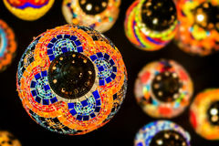 Colour glass lantern in dark Royalty Free Stock Images