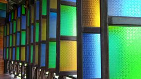 Colour glass windows hall Stock Image