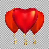 Colour Glossy  Heart Shape Helium Balloons Isolated on Transparent Background. Vector Illustration EPS10 Stock Photo