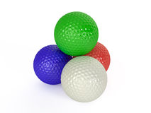 Colour golf balls isolated. 3d illustration Royalty Free Stock Images