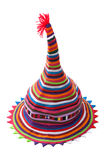 Colour hat from strips fabrics. On white background stock images