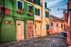 Colour houses on Burano island, province of Venice Stock Image