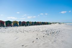 Colour huts in south african beach. Little colour huts in south african beach Stock Photos
