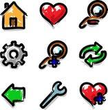 colour konturowych ikon markiera narzędzi wektorowa sieć ilustracja wektor