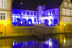 Colour light building in strasbourg night. Colour light building in old town strasbourg in france by night Royalty Free Stock Images