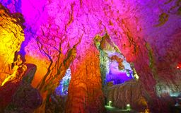 Colour Light Illuminated Cave Landscape, Silver Cave, Guilin, China royalty free stock photo