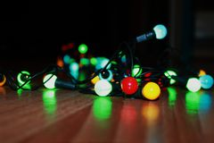 Colour lights. Just x-mas lights on the floor royalty free stock photo