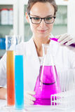 Colour liquid in chemical equipment Royalty Free Stock Image