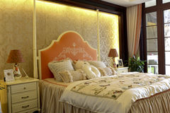 Colour lively family bedroom decorate Stock Images