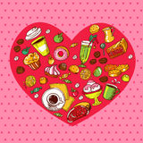 Colour lovely food pattern Stock Photo