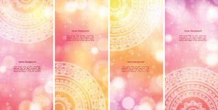 Colour Mandala Banners. Detailed Colorful Mandala Banners, with copy space Royalty Free Stock Images