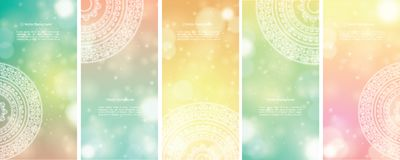 Colour Mandala Banners. Detailed Colorful Mandala Banners, with copy space Royalty Free Stock Photography