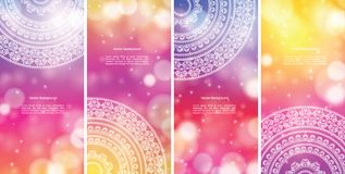 Colour Mandala Banners. Detailed Colorful Mandala Banners, with copy space Stock Images