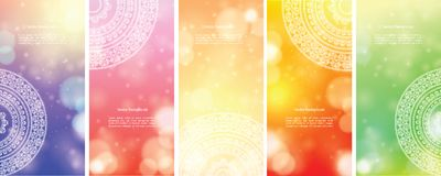 Colour Mandala Banners. Detailed Colorful Mandala Banners, with copy space Stock Photo