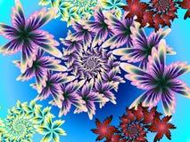 Colour Me Plentyful. Different fractal floral shapes against light background stock illustration
