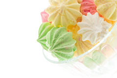 Colour meringues in a vase Royalty Free Stock Photography
