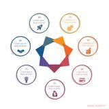 Colour modern infographic concept for 07 positions possible to. Use for template business, workflow, banner, diagram, web design, timeline, area chart,number royalty free illustration