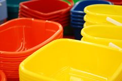Colour new basins. In a supermarket Stock Photography