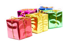 Colour new year boxes Royalty Free Stock Photography