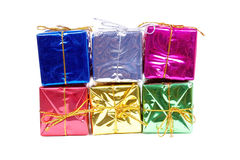 Colour new year boxes on white Stock Photography