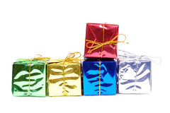 Colour new year boxes on white Stock Images