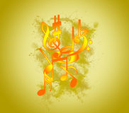 Music colour notes on the fone. Royalty Free Stock Photography