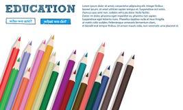 Colour ołówków sztandar odizolowywający na białym tła zakończeniu up Obrazy Royalty Free