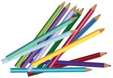 Colour ołówki, kredki odizolowywać na białym tle ilustracja wektor