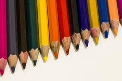 Colour ołówki na białym tle zdjęcia stock