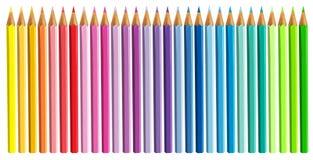 Colour ołówki odizolowywający i oddzielający na białym tle otwierającym Obrazy Stock