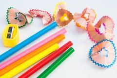 Colour ołówkowi i drewniani golenia Obraz Stock