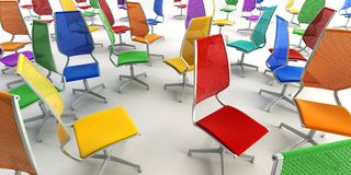 Colour office chairs 3d Royalty Free Stock Image