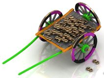 Colour old wagon cart with euro and dollars Royalty Free Stock Images