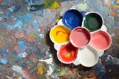 Colour Palette. Various colors on a palette Stock Photos