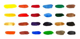 Colour palette comprising of watercolour swatches wtercolor brushstrokes Royalty Free Stock Photo