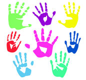 Colour palm hands Royalty Free Stock Photos