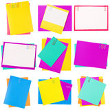 Colour paper with a paper clip. Collage. Of 9 photo Royalty Free Stock Photography
