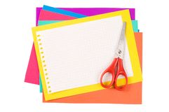 Colour paper with Scissors Stock Image