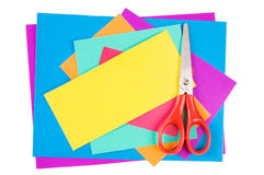 Colour paper with Scissors Stock Photography