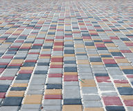 Colour paving slabs extending to the horizon Royalty Free Stock Image