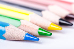 Colour pencil isolated on a white background. Lines of pencils. Education concept. Lots of assorted color pencils. Color palette. Stock Photography