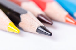 Colour pencil  on a white background. Lines of pencils. Education concept. Stock Photos
