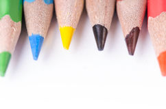 Colour pencil  on a white background. Lines of pencils. Education concept. Royalty Free Stock Photo